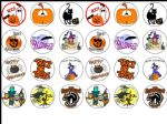 24 x Halloween edible wafer paper bun cup cake top toppers